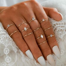 12pcs Simple Rhinestone Ring