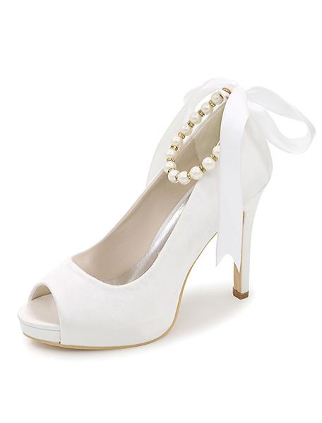 Milanoo Peep Toe Wedding Shoes Platform Pearls Ankle Strap Stiletto Heel Satin Bridal Shoes
