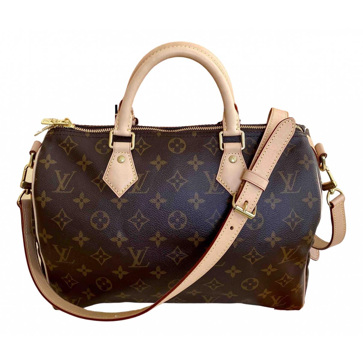 Louis Vuitton Speedy Bandouliere Handtasche in  Braun Leinen