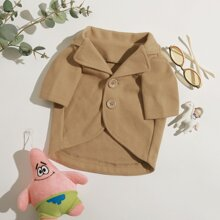 1pc Single Breasted Lapel Collar Dog Overcoat