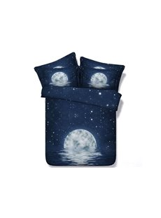 3D Moon Night and Galaxy Printed 5-Piece Blue Comforter Sets