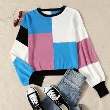 Jersey de color combinado de hombros caidos