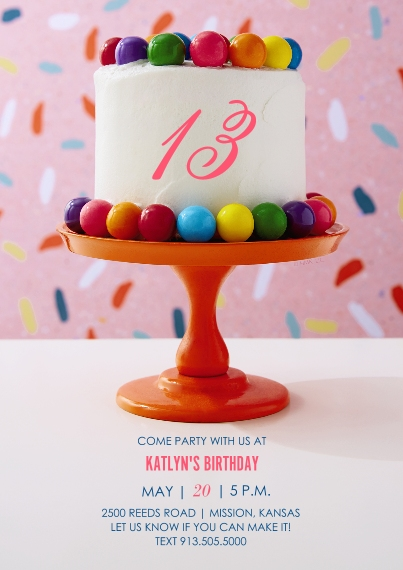 Kids Birthday Party Flat Matte Photo Paper Cards with Envelopes, 5x7, Card & Stationery -Rainbow Cake on Stand