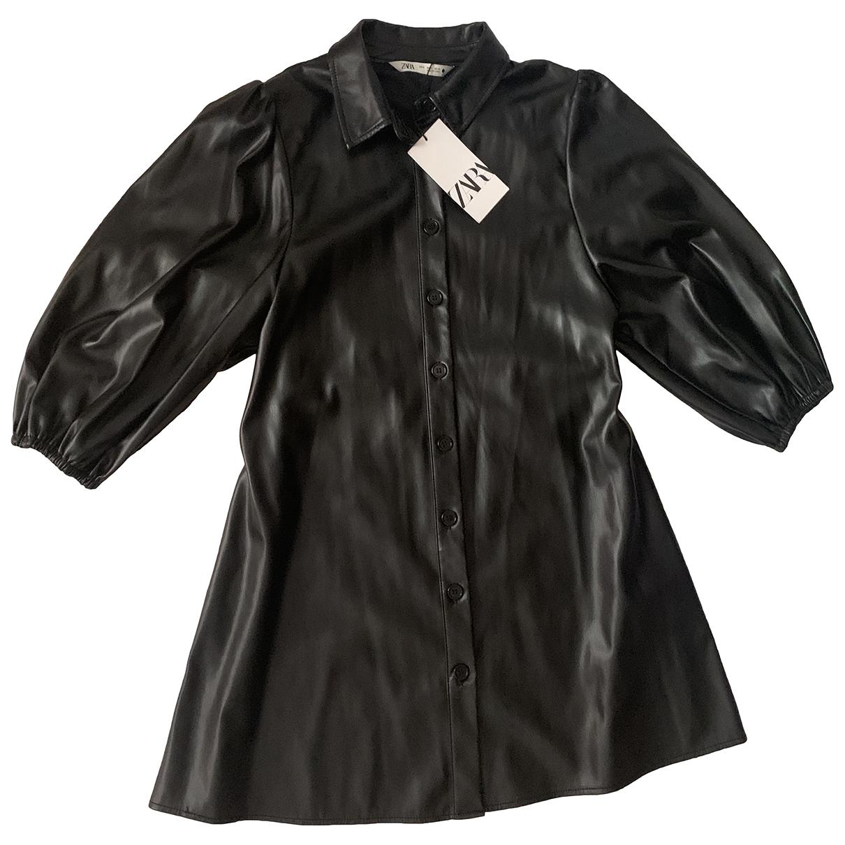 Zara - Robe   pour femme en veau facon poulain - noir