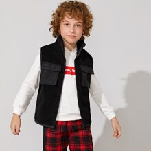 Boys Flap Pocket Front Zip Up Fleece Vest Jacket
