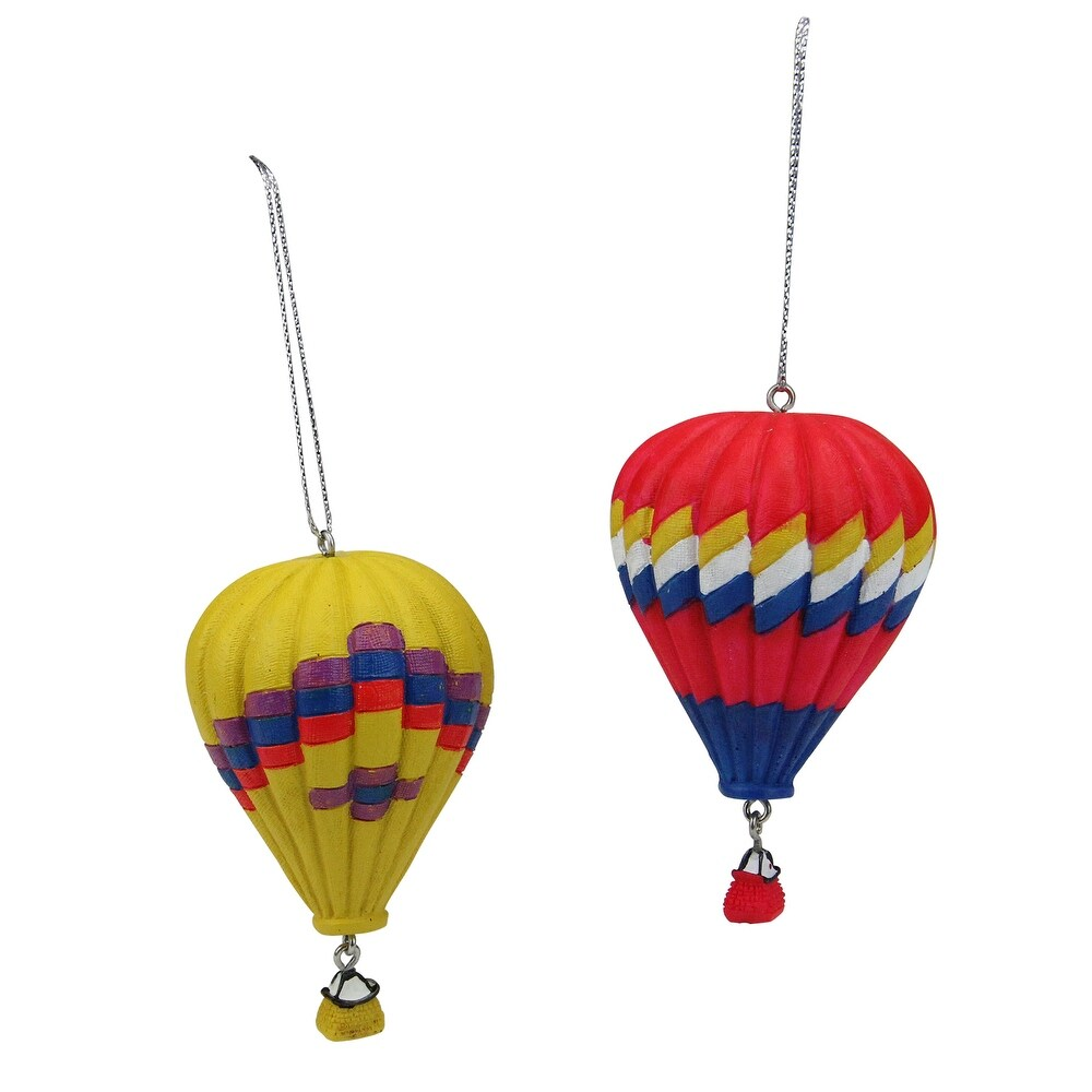 Set of 2 Red and Yellow Hot Air Balloons Christmas Ornaments 3.75