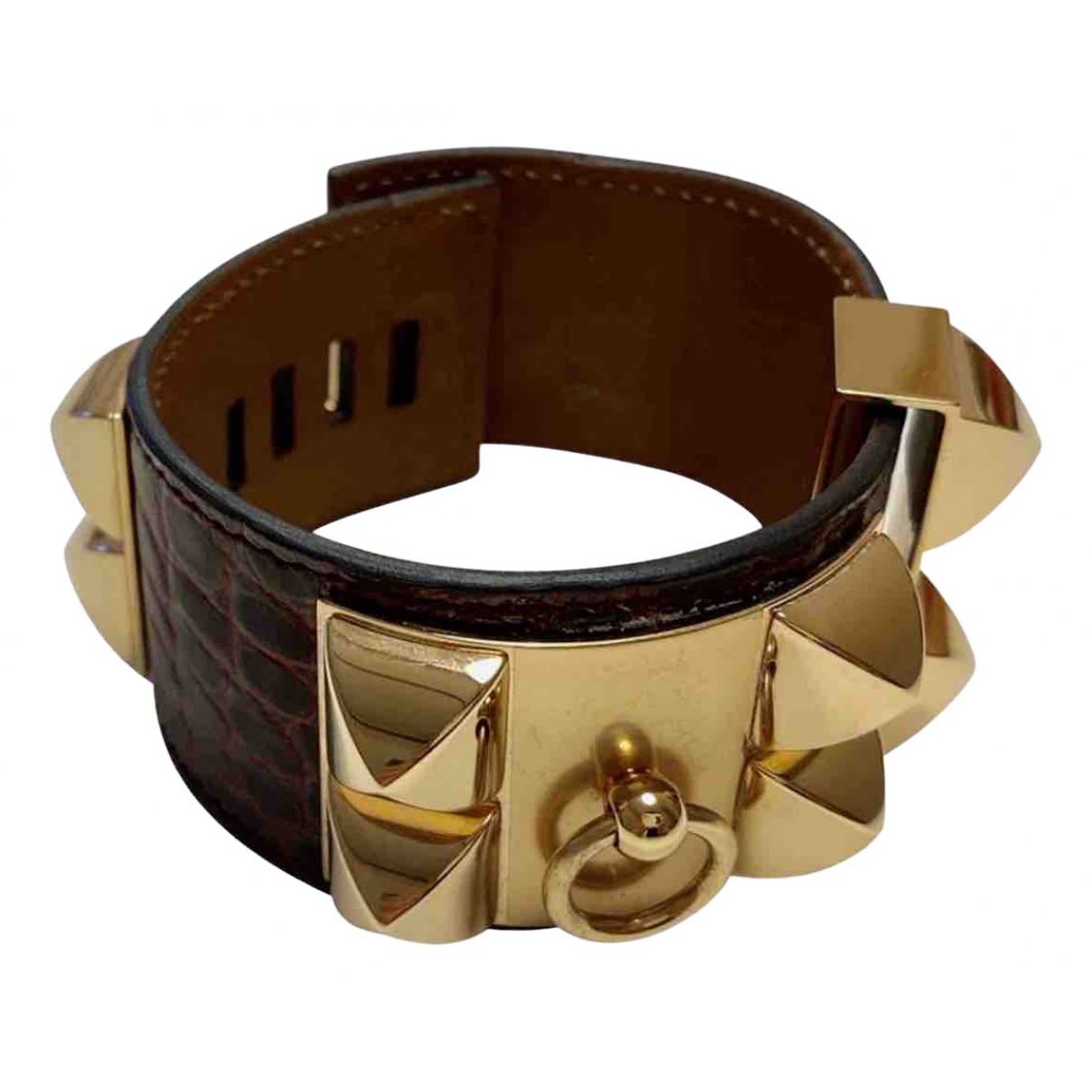 Hermes Collier de chien  Armband in  Bordeauxrot Aligator