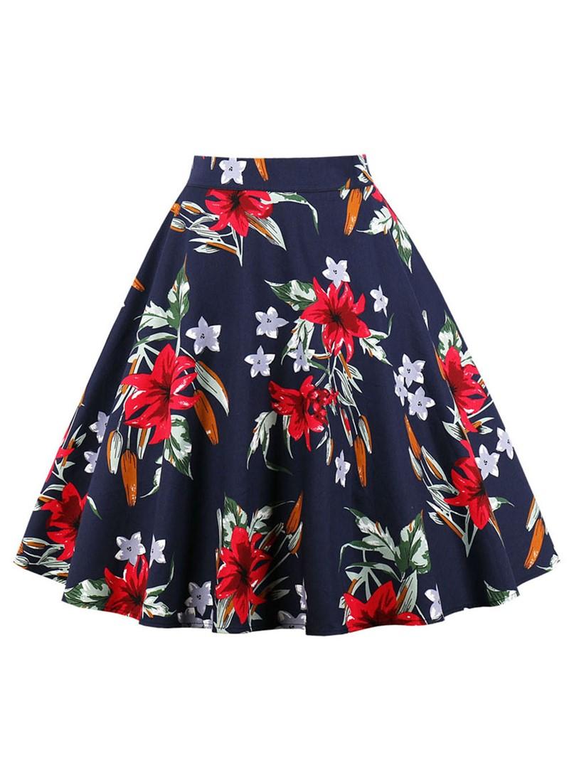 Ericdress A-Line Print Pleated Women's Skirt