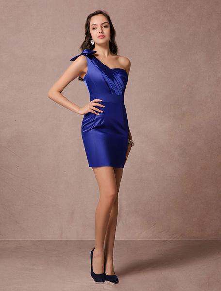 Milanoo Vestido de coctel de saten elastico azul brillante con escote a un solo hombro sin mangas con lazo