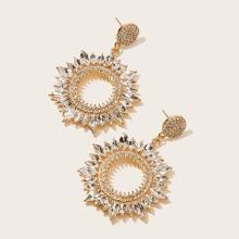1pair Hollow Out Rhinestone Decor Drop Earrings