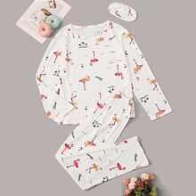 Schlafanzug Set mit Flamingo Muster und Augenmaske