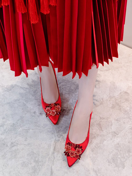 Milanoo Zapatos de fiesta para mujer, rojo, puntiagudo, diamantes de imitacion, tacones altos, bombas de noche de saten
