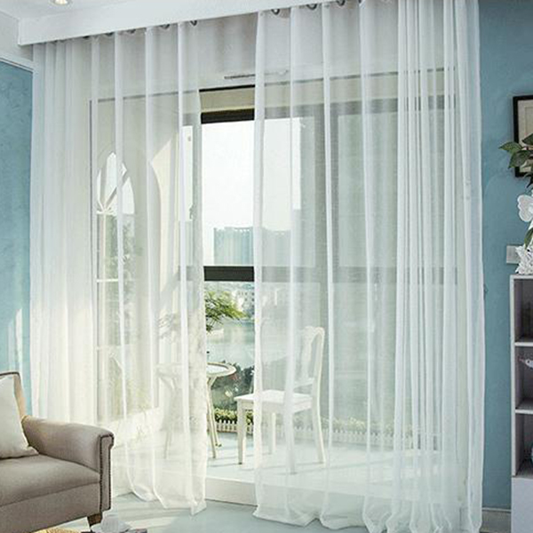 Elegant Comfort Pure Colored Cross Linen Custom Sheer Curtain