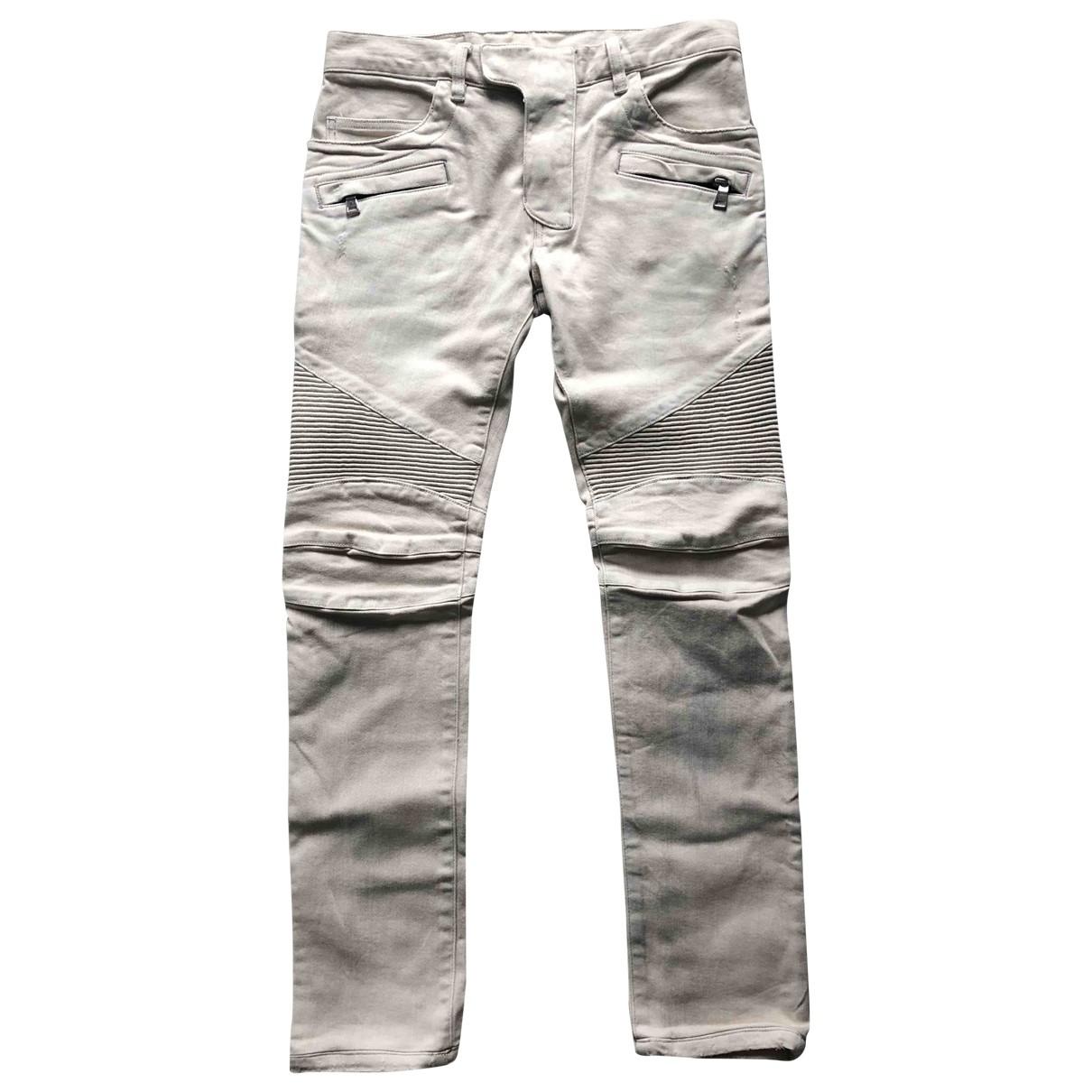 Balmain \N Beige Cotton - elasthane Jeans for Men 30 US