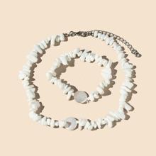 2pcs Stone Beaded Necklace & Bracelet