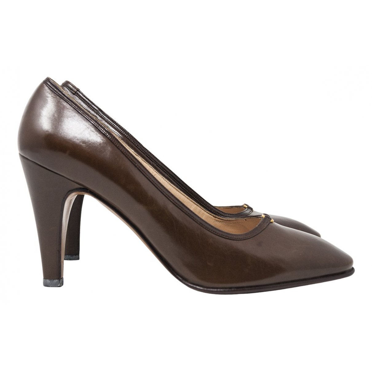 Gucci N Brown Leather Heels for Women 38 IT