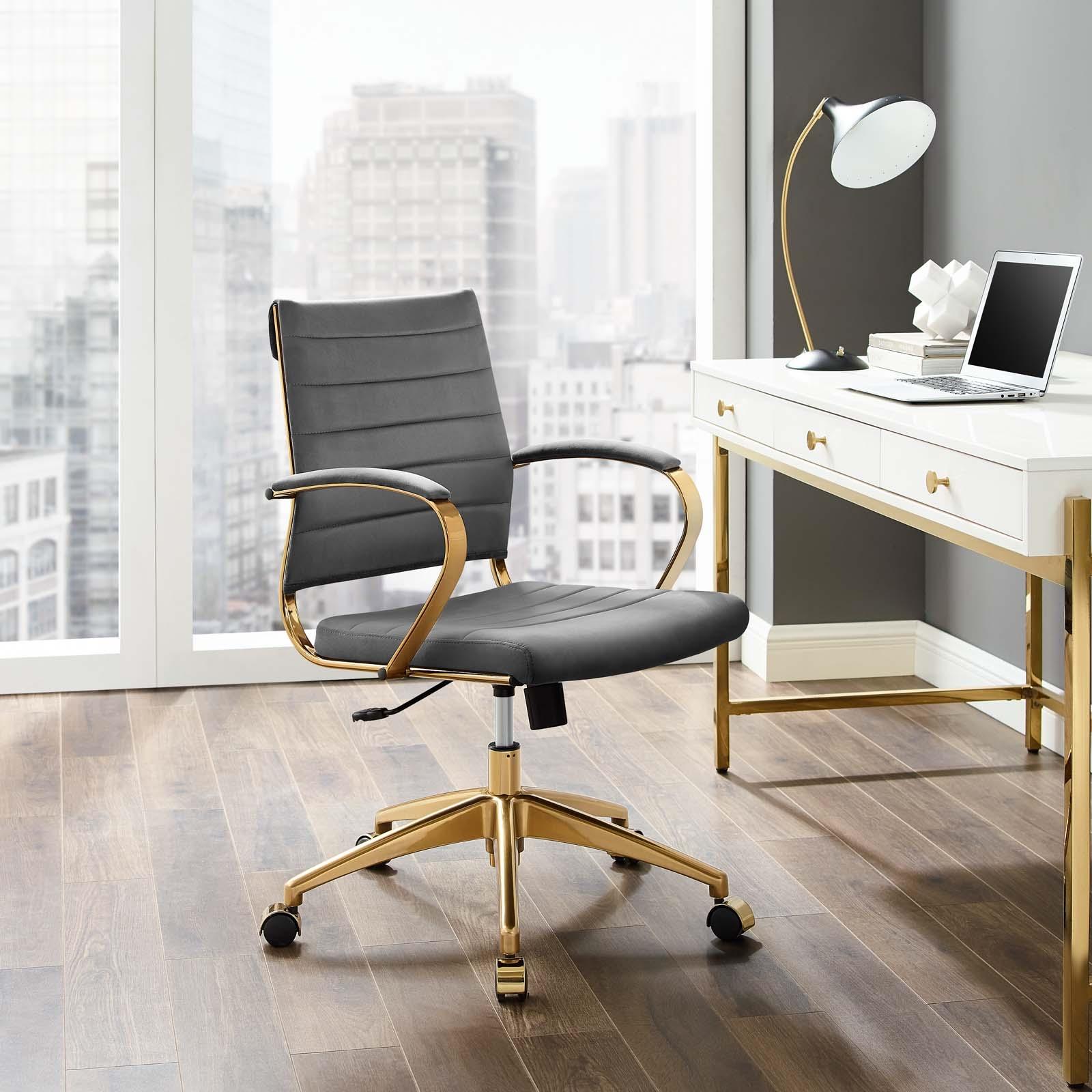 Jive Mid Back Performance Velvet Office Chair in Gray
