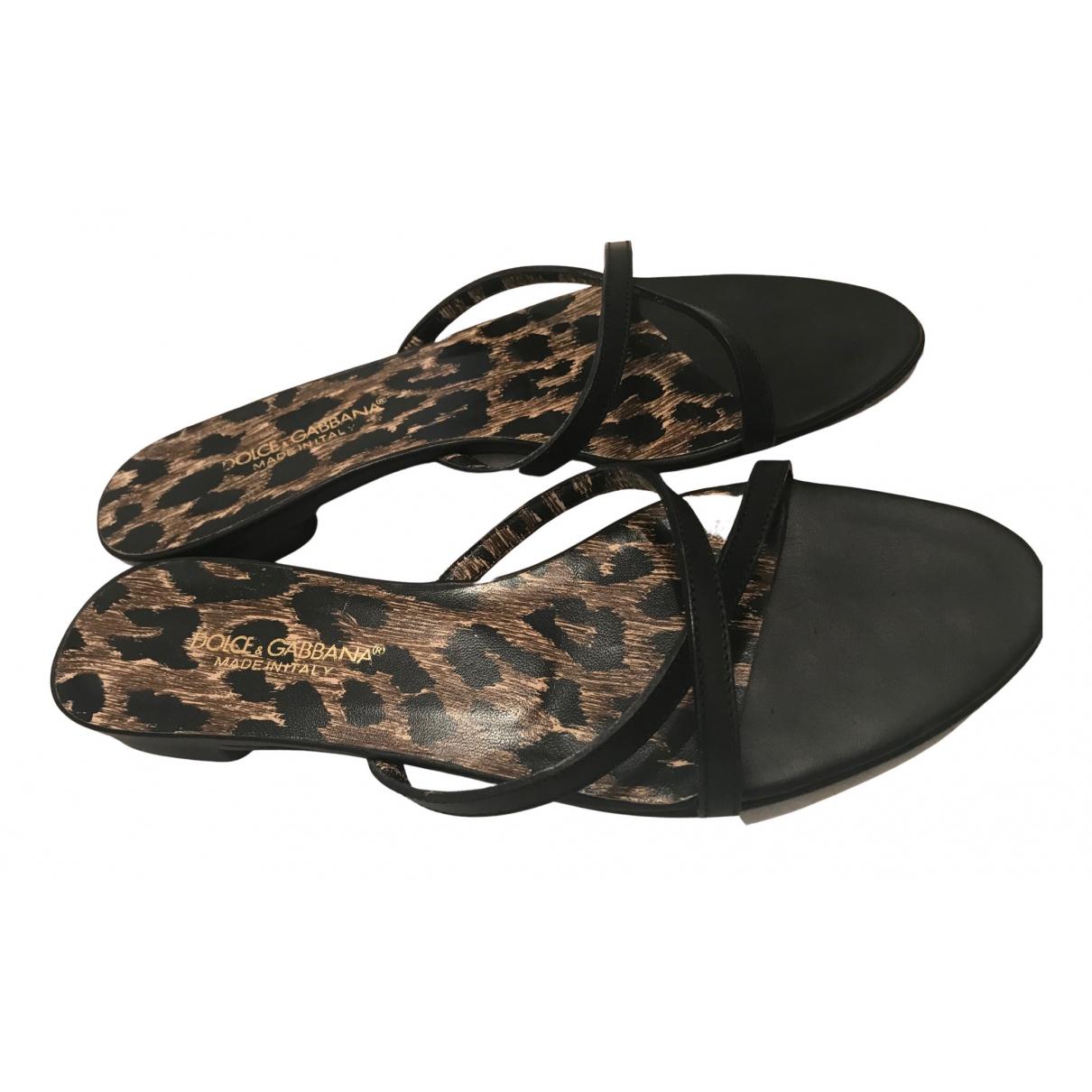 Dolce & Gabbana N Black Leather Sandals for Women 37 EU