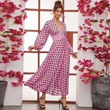 Kleid mit Laternenaermeln, Empire Taille und Punkten Muster