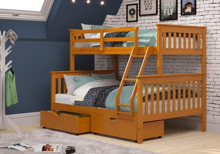 122-3-TFH_505-H Twin/Full Mission Bunkbed With Dual Underbed Drawers in Honey