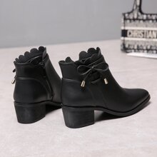 Scallop Trim Chunky Heeled Boots