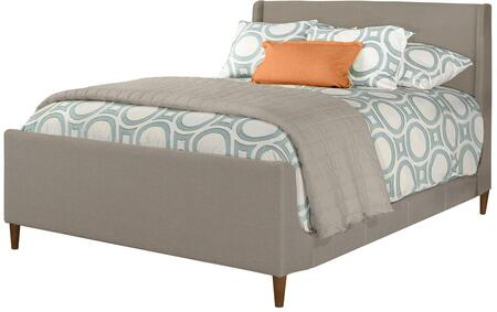 Denmark Collection 2165BQR Queen Size Bed with Headboard  Footboard  Rails  Fabric Upholstery  Tapered Wood Legs and Stitched Detailing in Dove