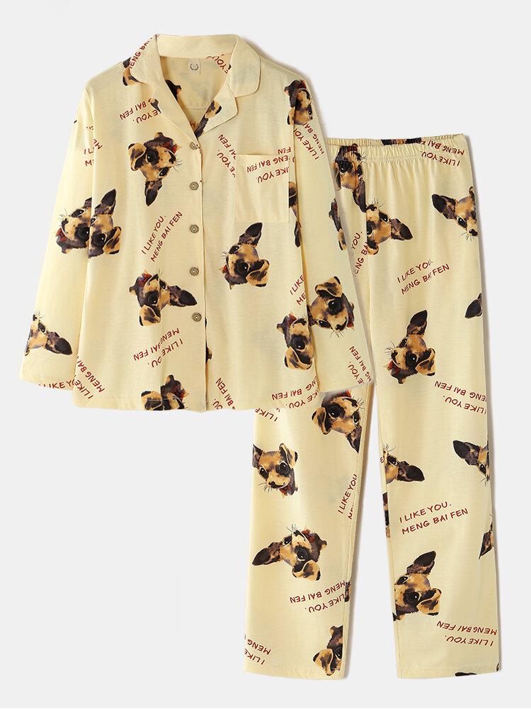 Women Cotton Dog Letter Print Lapel Collar Long Pajamas Sets With Pocket