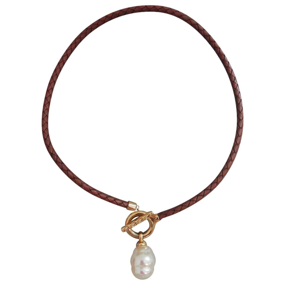 - Collier   pour femme en perle - marron