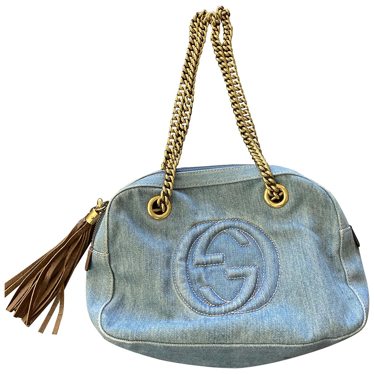 Gucci - Sac a main Soho pour femme en denim - bleu