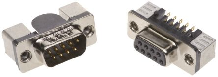 HARTING D-Sub Standard Series, 9 Way Right Angle SMT PCB D-sub Connector Plug, 2.76mm Pitch, with 4-40 UNC Female (5)