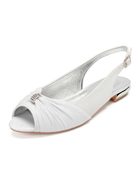 Milanoo Zapatos de novia Tela-brillante Zapatos de Fiesta Plana Zapatos azul oscuro  de punter Peep Toe 1.5cm Sandalias de Noche & Sandalias de Novia