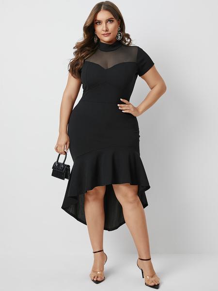 Yoins Plus Size Black Ruffle Trim Mesh Short Sleeves Dress