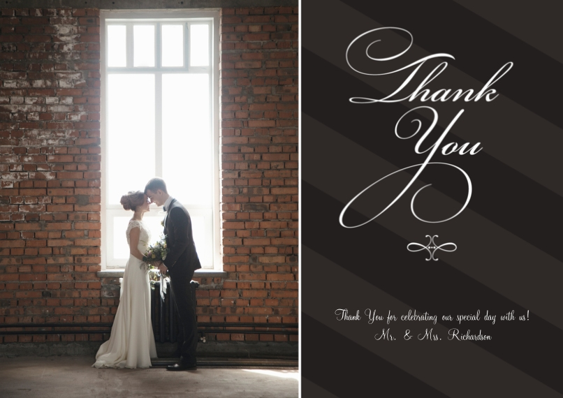 Wedding Thank You Flat Matte Photo Paper Cards with Envelopes, 5x7, Card & Stationery -Flourishes and Stripes - Thanks