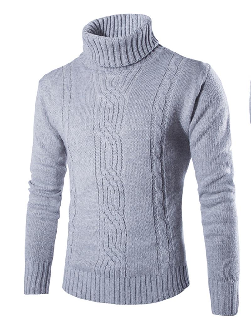 Ericdress Plain Turtleneck Warm Men's Sweater