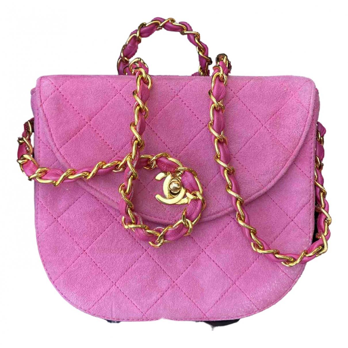 Chanel - Sac a main Timeless/Classique pour femme en suede - rose