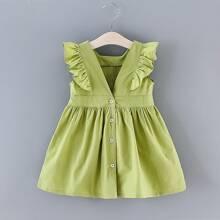 Kleinkind Maedchen Kleid mit Raffungsaum und Knopfen vorn
