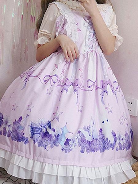 Milanoo Dulce vestido de Lolita JSK Flor de Dreamland Mar de conejito Impreso Lolita Jumper Faldas
