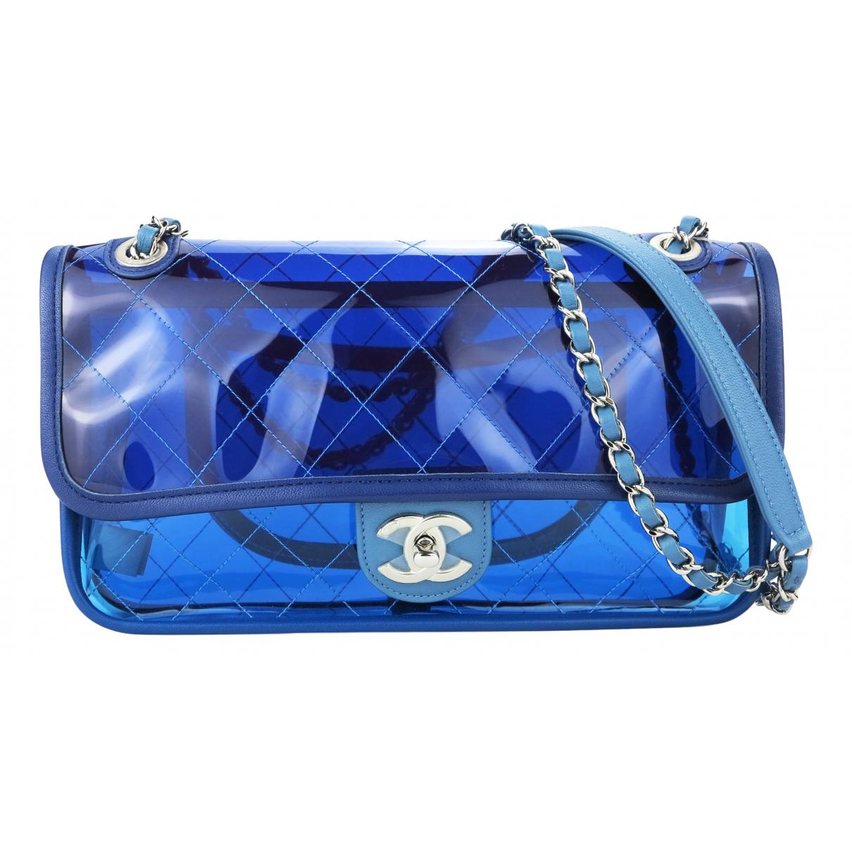 Chanel Timeless/Classique Handtasche in  Blau Kunststoff