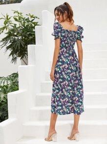 Allover Floral Shirred Back A-line Dress