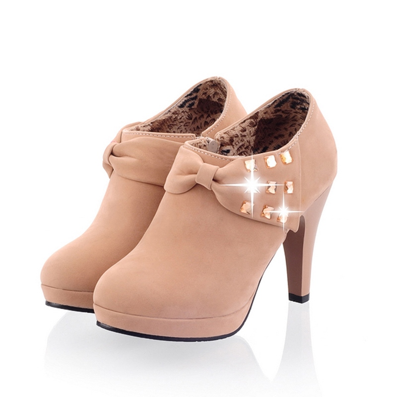 Ericdress Bowtie&rhinestone Decorated High Heel Boots
