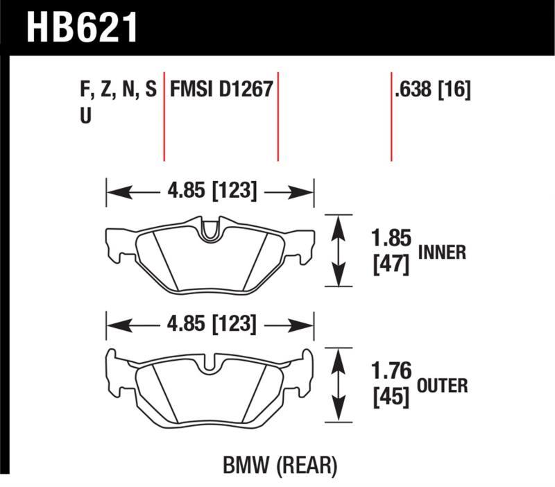 Hawk Performance HB621F.638 Disc Brake Pad BMW Rear