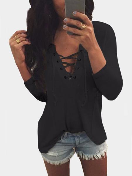 Yoins V Neck Lace Up Front Loose T-shirt in Black