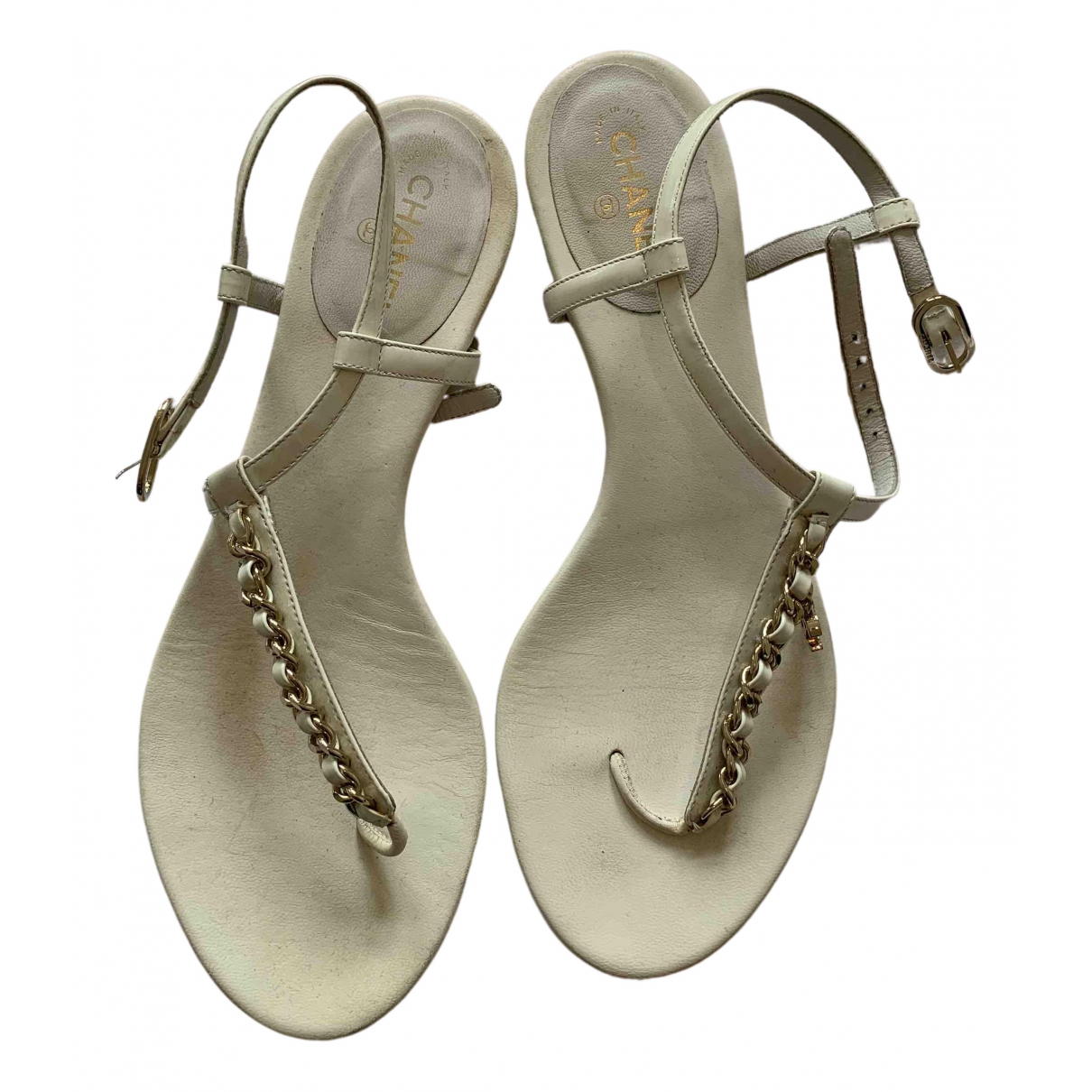 Chanel N White Patent leather Sandals for Women 36.5 EU