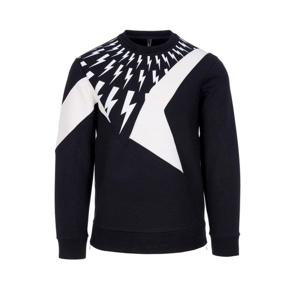 Neil Barrett Lightning Bolt Sweater Colour: BLACK, Size: LARGE