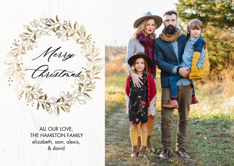Christmas Photo Cards 5x7 Cards, Premium Cardstock 120lb with Elegant Corners, Card & Stationery -Christmas Gold Foliage Wreath by Tumbalina