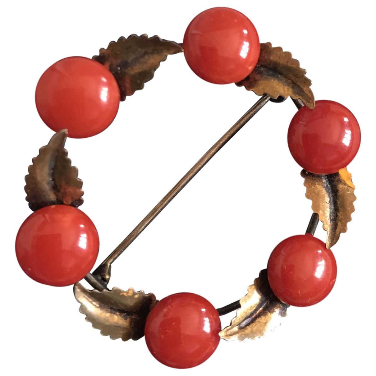 - Broche Corail pour femme en metal - rouge