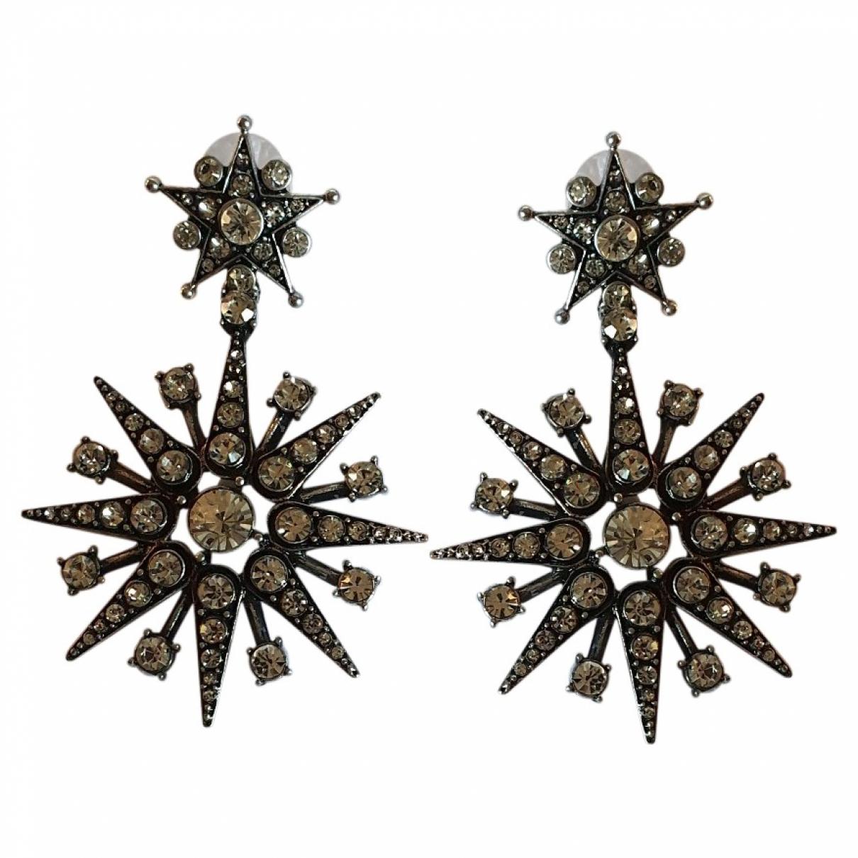 Oscar De La Renta N Silver Crystal Earrings for Women N
