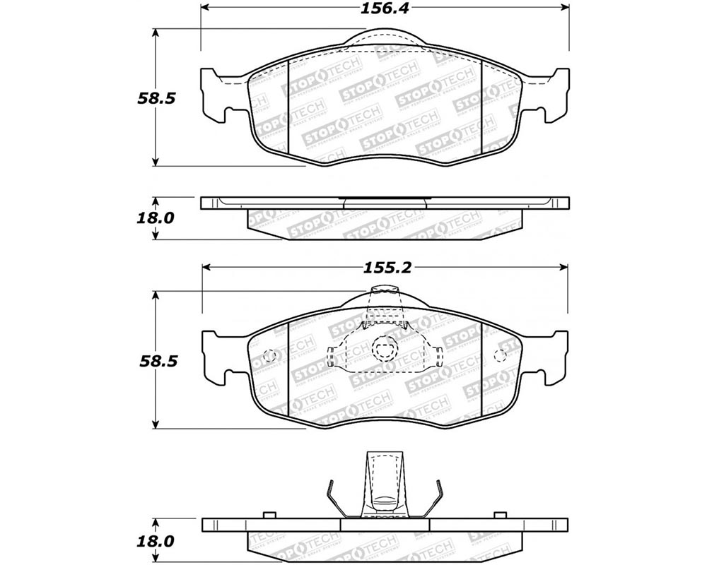 StopTech 308.0648 Street Brake Pads with Shims/Hardware Front