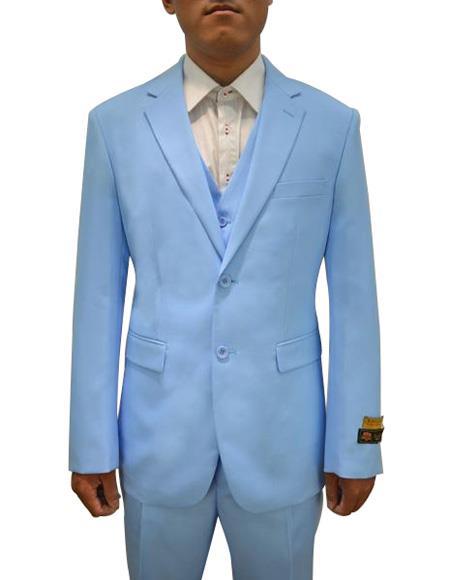 Alberto Nardoni Mens Vested 3 Piece Suit Sky Blue