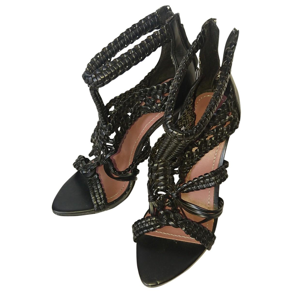 Zara \N Black Leather Sandals for Women 38 EU